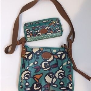 Fossil Coated Canvas Crossbody and Wallet - Teal